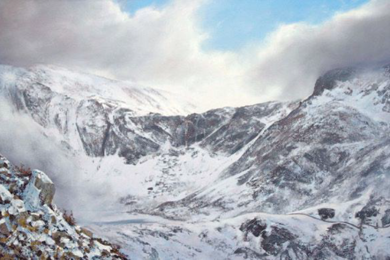 Devils Kitchen welcomes the Beast from the East, oil on canvas, 60 x 90 cm