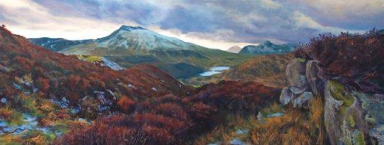 Moel Siabod in Winter, oil on canvas, 40 x 100 cm